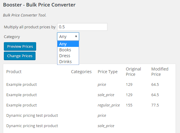 Booster for WooCommerce Bulk Price Converter with Product Category