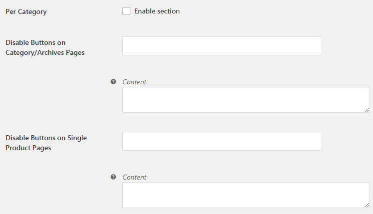 WooCommerce Add to Cart Button Visibility - Admin Settings - Per Category