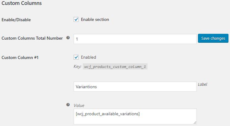 WooCommerce Admin Products List - Admin Settings - Custom Column