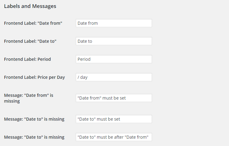 WooCommerce Bookings - Admin Settings - Labels and Messages