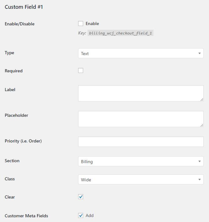 WooCommerce Checkout Custom Fields - Admin Settings - Field General Options