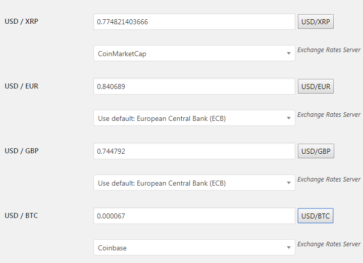 WooCommerce Currency Exchange Rates - Admin Settings - Exchange Rates