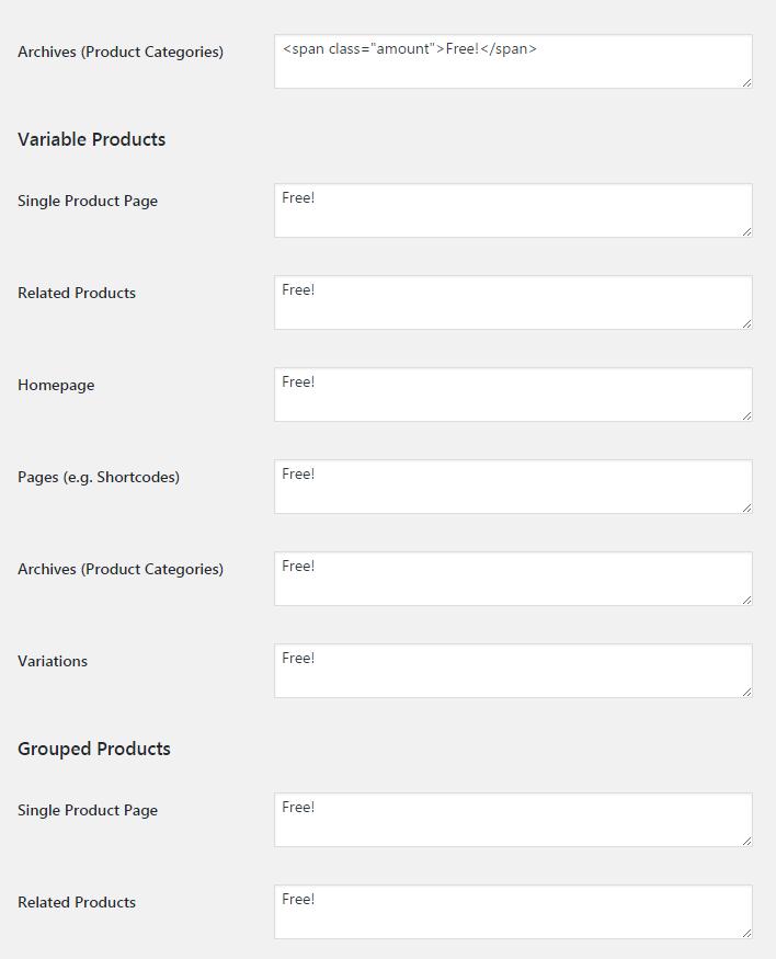 WooCommerce Free Price Labels - Admin Settings