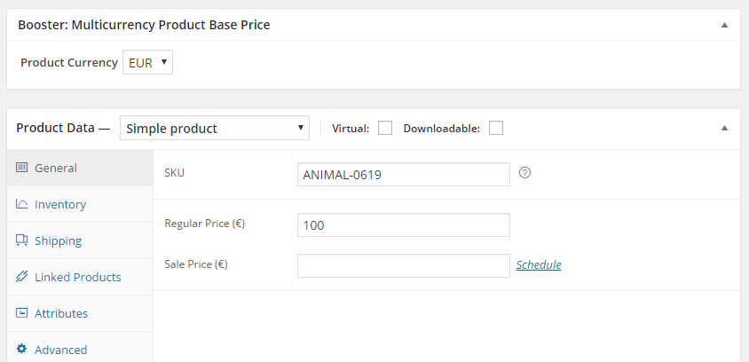 WooCommerce Multicurrency Product Base Price - Admin - Product Edit