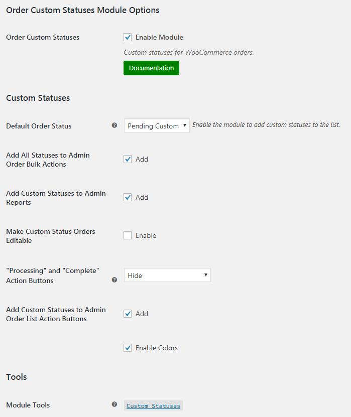 WooCommerce Order Custom Statuses - Admin Settings
