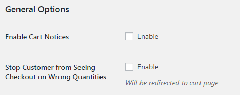 WooCommerce Order Min Max Quantities - Admin Settings - General Options