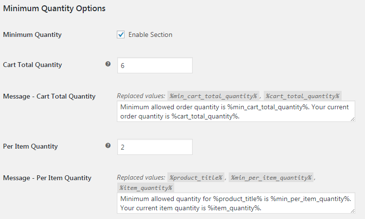 WooCommerce Order Min Max Quantities - Admin Settings - Minimum Quantity Options
