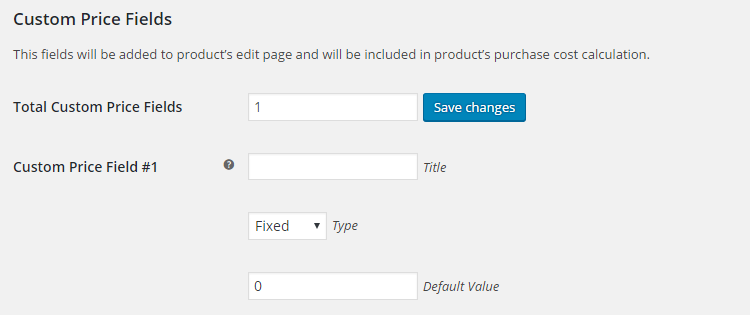 WooCommerce Product Cost Price - Admin Settings - Custom Price Fields