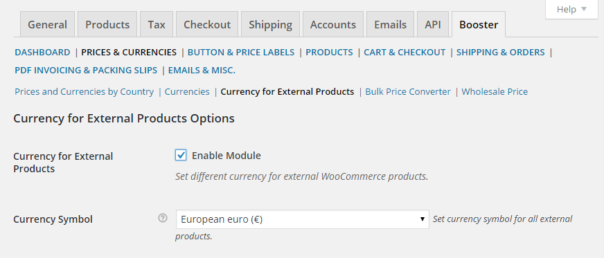 WooCommerce Currency for External Products